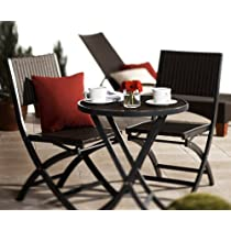 Strathwood Ritta All-Weather Wicker 3-Piece Bistro Set Dark Gray