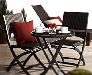 Strathwood Garden Furniture -  Ritta Wicker / Poly Rattan 2 Seater Bistro Set, Dark Grey, with Table