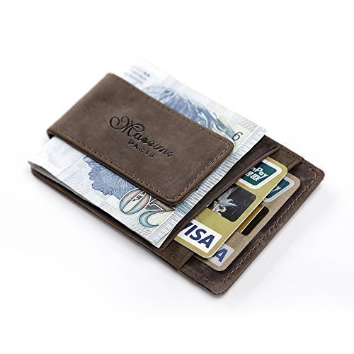 teemzone-genuine-leather-money-clip-front-pocket-wallet-with-magnet-clip-and-card-id-case-coffee