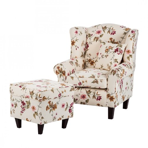 lada pisan ohrensessel red rose mit hocker webstoff beige mit blumenmuster cocktailsessel. Black Bedroom Furniture Sets. Home Design Ideas