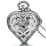 JewelryWe Valentine's Day Gifts Vintage Silver Tone Heart Locket Style Pendant Pocket Watch Necklace for Girls Lady Women, 30 Inch Chain