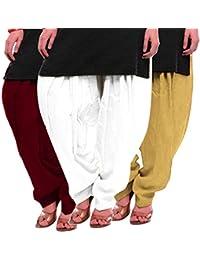 Women's Maroon White-Beige Cotton Patiala Salwar