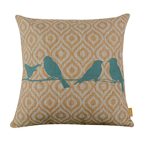 """LINKWELL 18"""" x 18"""" inches Forest Blue Bird Yellow Ikat Geometry Burlap Pillow Cover"""
