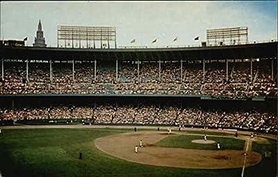 Cleveland Indians in action at Cleveland Municipal Stadium Cleveland, Ohio Original Vintage Postcard
