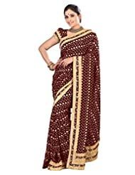 Designer Alluring Brown Colored Embroidered Faux Georgette Saree By Triveni