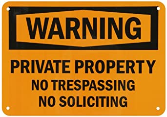 "SmartSign Aluminum Sign, Legend ""Warning: Private Property No Trespassing"", 7"" high x 10"" wide, Black on Orange"