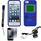 Blue Game Boy Durable Silicone Protective Skin Case For Apple iPhone 5 iOS (6) Smart Phone + BLACK Cord Organizer + Apple iPhone 5 Screen Protector + an eBigValue TM Determination Hand Strap