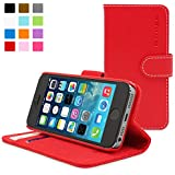 Snugg iPhone 5 / 5s Case - Leather Flip Case with Lifetime Guarantee (Red) for Apple iPhone 5 / 5s