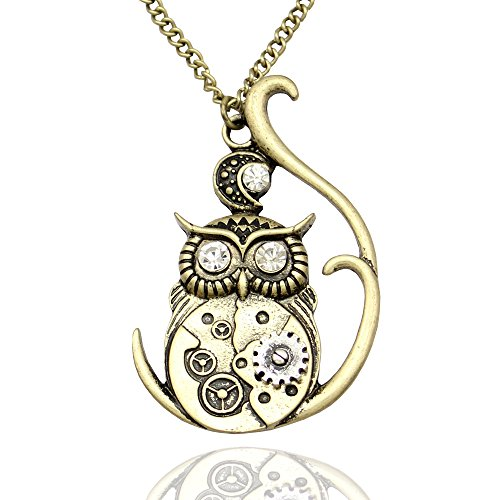 Vintage-Ornate-3D-Owl-Moon-Watch-Clock-Hand-Gear-Cog-Steampunk-Chain-Fancy-Dress-Necklace