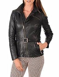 Syedna Black Leather Women Biker Jacket