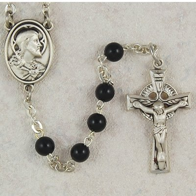 Sterling Silver 5mm Bead Childrens Black Glass Irish Rosary, Deluxe Gift Boxed Celtic Cross, Black Rosary
