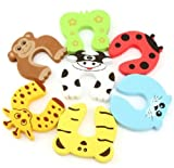 EasyLifeCare® 7 PCS Children Safety Finger Pinch Cartoon Animal Foam Door Stopper Cushion - Bundled Carton Monster Baby Child Kid Animal Cushiony Finger Hand Safety Door Stop Guard Set