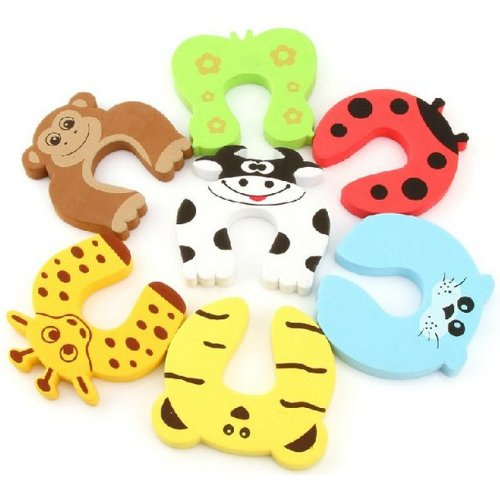 EasyLifeCare® 7 PCS Children Safety Finger Pinch Cartoon Animal Foam Door Stopper Cushion - Bundled Carton Monster Baby Child Kid Animal Cushiony Finger Hand Safety Door Stop Guard Set - 1