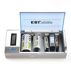 EBL® 906 Universal LCD Smart Quick Battery Charger & Discharger for AA, AAA, C, D, 9V, Ni-MH, Ni-CD Rechargeable Batteries ( Batteries Not Included )