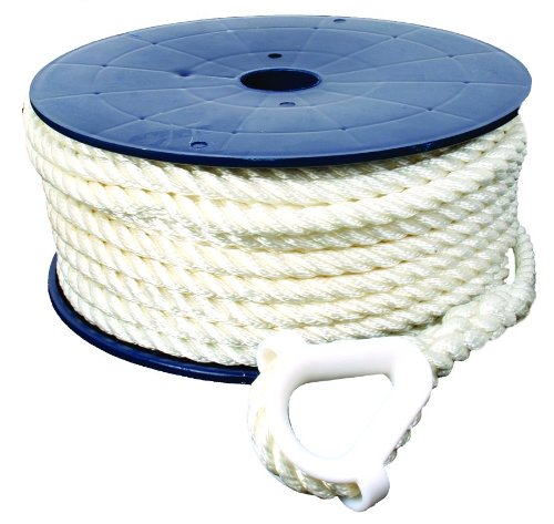 Invincible Marine 150-Foot Twisted Nylon Anchor Line, 3/8-Inches by 150-Feet, White Marine Grade Nylon Ropes