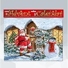 Santa en la puerta calendario de adviento con purpurina