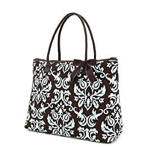 Belvah Extra Large Quilted Damask Print Tote Bag - Brown/Turquoise