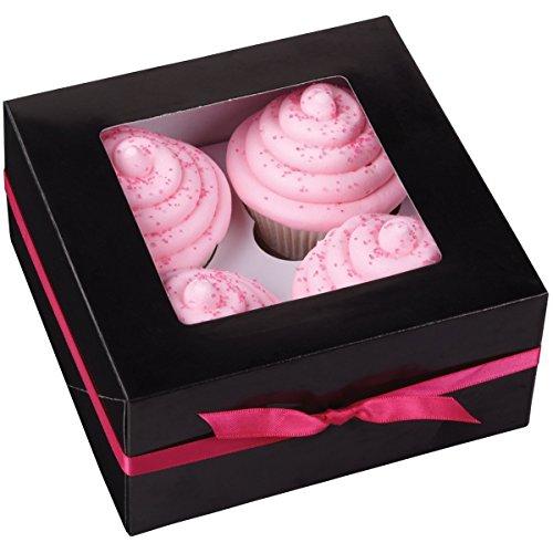 Wilton Brands 7.6x16.5cm (3x 15,9cm) Papier Boîte à cupcakes 4trous, trois Pack-Noir