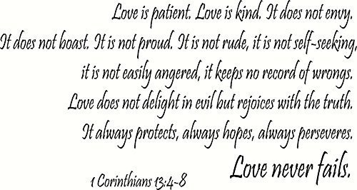 1 Corinthians 13:4-8 Wall Art, Love Is Patient, Love Is Kind, It Does Not Envy, It Does Not Boast, It Is Not Proud, It Is Not Rude, It Is Not Self Seeking, It Is Not Easily Angered, It Keeps No Record of Wrongs, Love Does Not Delight in Evil but Rejoices with the Truth, It Always Protects, Always Hopes, Always Perseveres, Love Never Fails, Creation Vinyls by Creation Vinyls