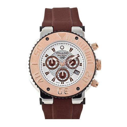 Mulco Homme & Femme 47mm Chronographe Marron Caoutchouc Bracelet Montre MW3-70601-031