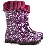 Lux Bright Boys Girls Kids Warm Fleece Lined Wellington Boots Wellies