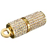 Meco 2GB/4GB/8GB/16GB/32GB USB 2.0 Portable Memory Stick Flash Drive U disk Rhinestones lipstick Shape(gold 16GB)