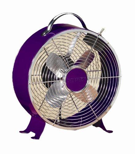 Deco Breeze Round Retro Table Fan, Purple, 12-1/2-Inch by 10-Inch