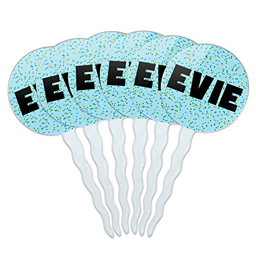 Evie Cupcake Picks Toppers Decoration Set of 6 - Blue Speckles (Evies Kitchen compare prices)