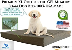 """Extra Large Dog Beds - XL Orthopedic GEL Memory Foam Pet Bed - 40"""" X 35"""" X 4"""" 100% Made in USA- Best XL Luxury Large Breed, Washable Pet Bed You Can Buy 