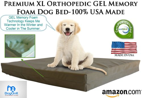 "Extra Large Dog Beds - Xl Orthopedic Gel Memory Foam Pet Bed - 40"" X 35"" X 4"" 100% Made In Usa- Best Xl Luxury Large Breed, Washable Pet Bed You Can Buy 