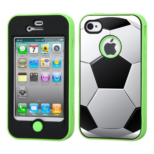 One Tough Shield ® 3-Layer Hybrid Phone Case (Black/Electric Green) For Apple Iphone 4 4S - (Soccer Ball B/W)