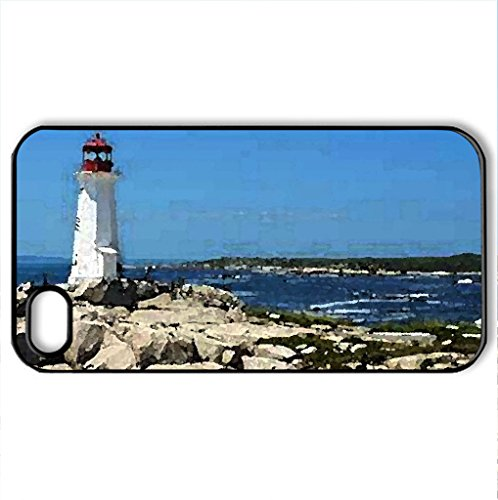 Peggys Cove Lighthouse - Nova Scotia - Case Cover For Iphone 4 And 4S (Lighthouses Series, Watercolor Style, Black)