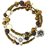 Bronze Facet & Pearl Beads Multistrand Flex Bracelet