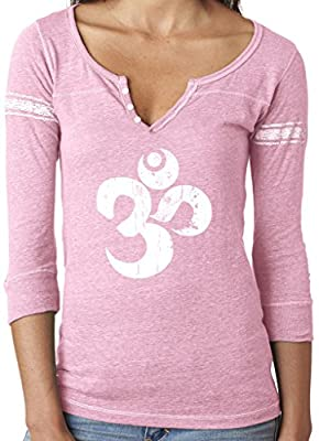 Yoga Clothing For You Ladies Distressed OM Henley Tee Shirt