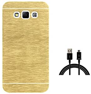 Tidel Golden Durable Aluminium Brushed Metallic Back Cover For Samsung Galaxy J7 With USB DATA CABLE