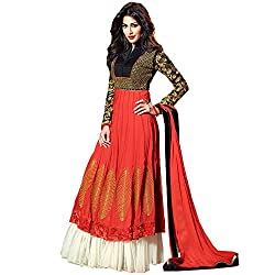 Resham Fabrics Orange Embroidered Anarkali Semi Stitched Salwar Suit Duppata Material