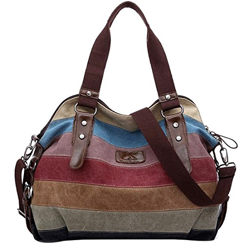 Striped Tote Bag, iTECHOR Multi-Color Striped