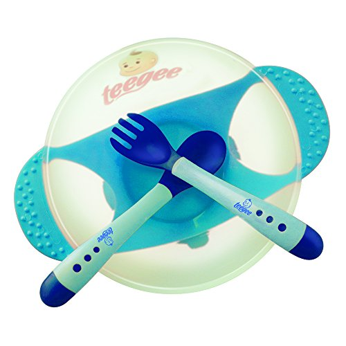 Baby Bowl Set with Fork and Spoon by Teegee, Blue Color, BPA Free with Strong Suction Base and Soft Tip Color Change Utensils.