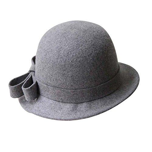 Laine-lgant-Feutre-Billycock-Bowler-Hat-Woolen-Cap-Rouleau-Brim-Hat-Gris
