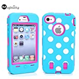 iPhone 4s Case, iPhone 4 Case, Magicsky iPhone 4g New Case with Polka Dots Pettern Full Body Hybrid Impact Shockproof Defender Case Cover for Apple iPhone 4/4s, 1 Pack(Hot Pink/Blue)