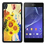 Sony Xperia Z2 D6502 Aluminum Case hand paint picture with sunflowers IMAGE 27372923 by MSD Customized Premium Deluxe generation Accessories HD Wifi Luxury Protector