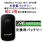 【PSEマーク取得済み】EMOBILE Pocket WiFi GP02用 (MUGENPOWER HLI-GP02XL) 5000mAh 超大容量バッテリー