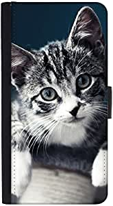 Snoogg Baby Cat Kitty Graphic Snap On Hard Back Leather + Pc Flip Cover Htc O...