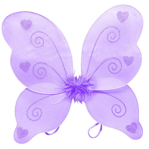 Purple Sparkle Heart Butterfly Fairy Wings