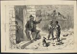 Disciplining Children Racist Images 1874 antique wood engraved print