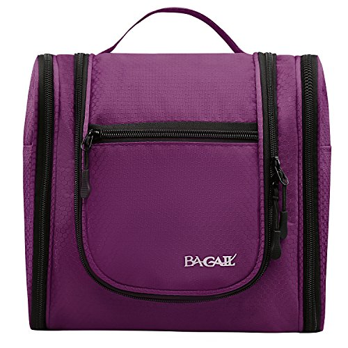 Bagail Men & Women Toiletry Bag For Makeup, Cosmetic, Shaving, Travel Accessories, Personal Items -Hotel, Car, Home, Bathroom, Airplane Hanging Toiletries Kit Makeup Organizer Purple (Personal Organizer Bathroom compare prices)