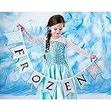 【ノーブランド品】 アナと雪の女王 / Frozen 風 子供用 ドレス 衣装(140cm, エルサ ドレスDX)