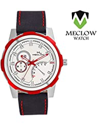 Latest Design Ink Blue Leather Belt Watch, Round White And Red Dial Analog Watch For Men's/Boys Classic Fashionable...