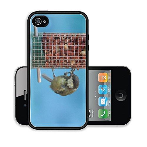 Liili Premium Apple iPhone 4 iPhone 4S Aluminum Case Great tit eating peanuts on a bird feeder blue background Image ID 22006007