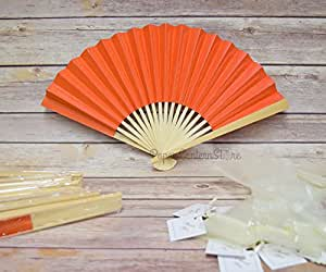 "9"" Orange Paper Hand Fan w/ Beige Organza Bag (10 PACK)"